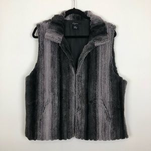 Cejon faux fur stripe down cozy warm vest xl